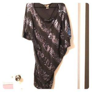 One Shoulder/ Drop Shoulder Arden B Sequined Dress